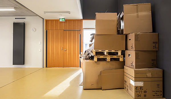 boxes packed in business premises