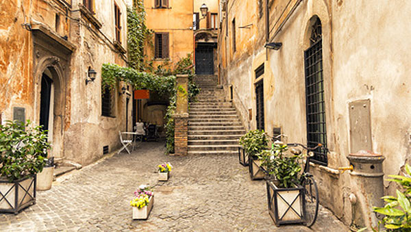 romantic alley in the old part of Rome, Italy